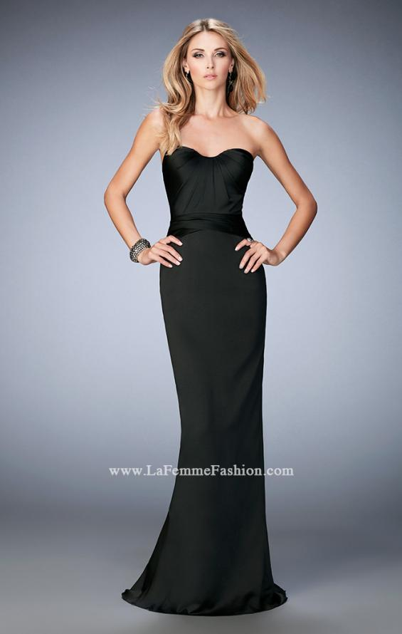 Picture of: Stretch Satin Gown with Gathered Bust and Train in Black, Style: 22755, Back Picture