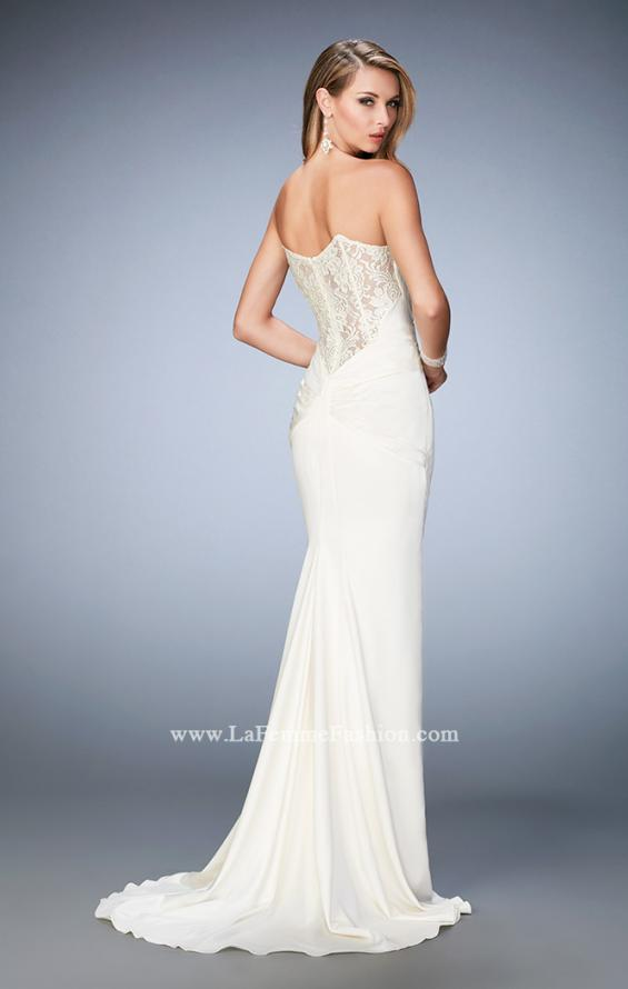 Picture of: Stretch Satin Gown with Gathered Bust and Train in White, Style: 22755, Detail Picture 1