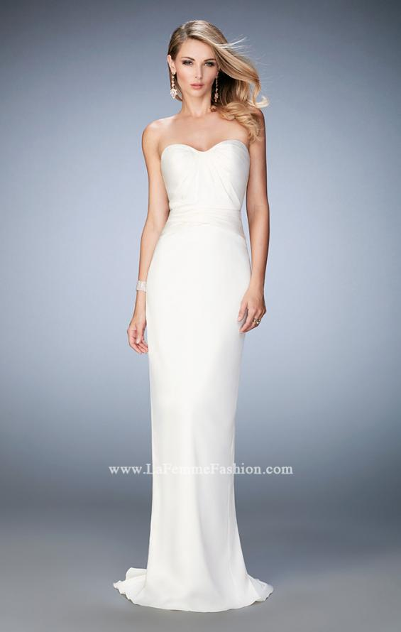 Picture of: Stretch Satin Gown with Gathered Bust and Train in White, Style: 22755, Detail Picture 2