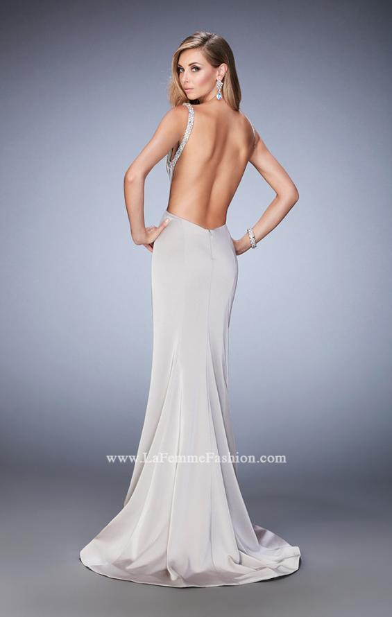 Picture of: Embellished Long Prom Gown with Open Back and Train in Silver, Style: 22761, Main Picture