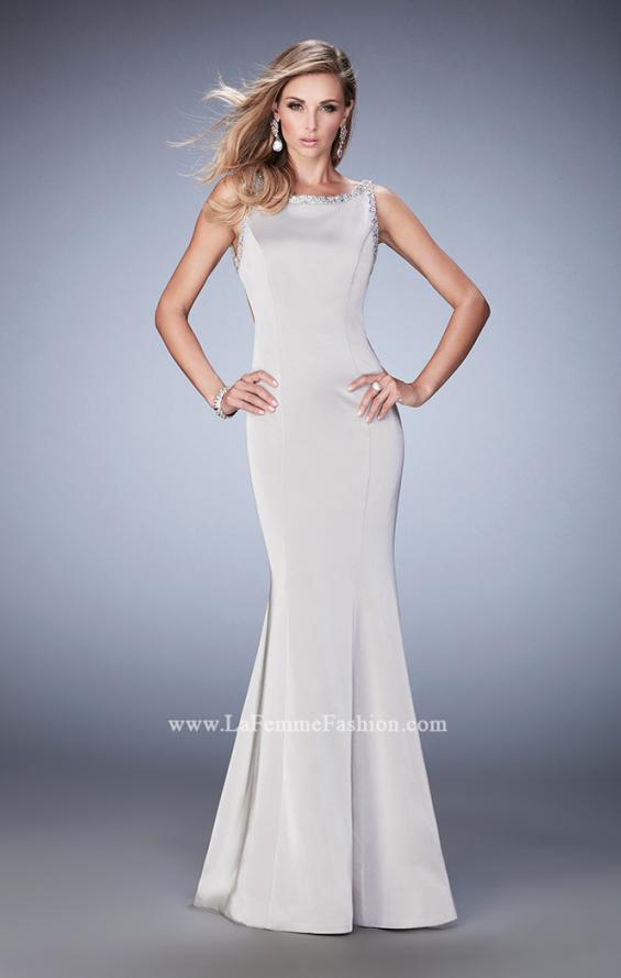 Picture of: Embellished Long Prom Gown with Open Back and Train in Silver, Style: 22761, Back Picture