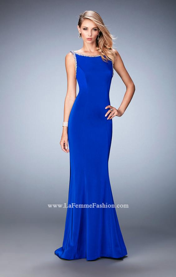 Picture of: Embellished Long Prom Gown with Open Back and Train in Blue, Style: 22761, Detail Picture 1