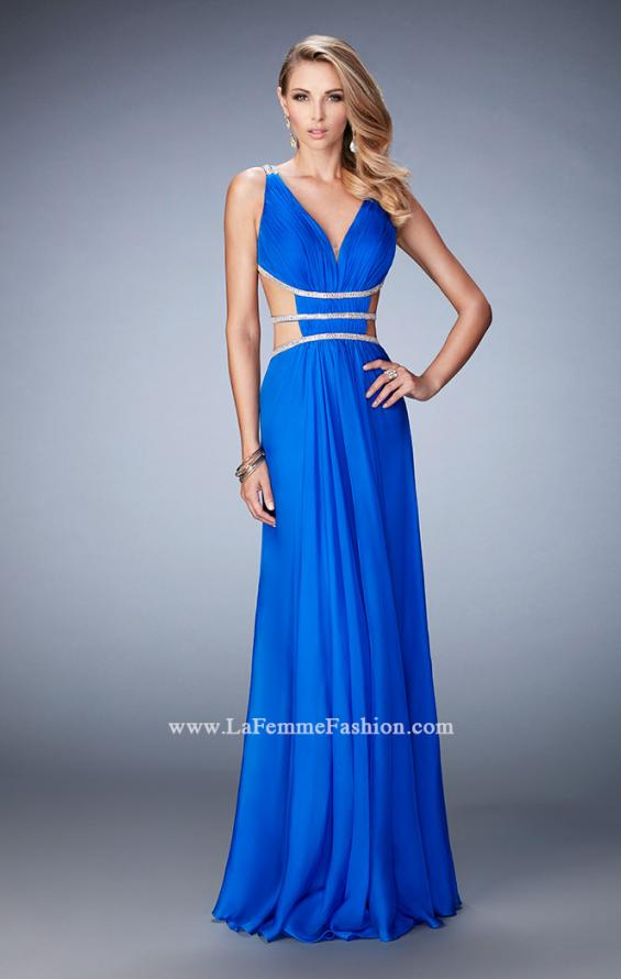 Picture of: Long Chiffon Gown with V Neckline and Crystal Straps in Blue, Style: 22762, Main Picture