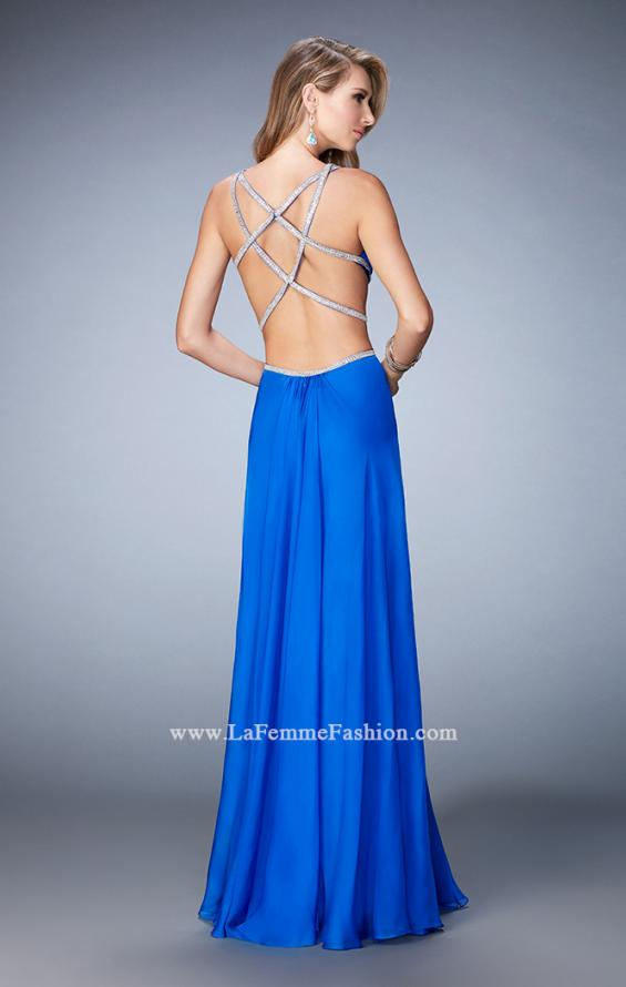 Picture of: Long Chiffon Gown with V Neckline and Crystal Straps in Blue, Style: 22762, Back Picture