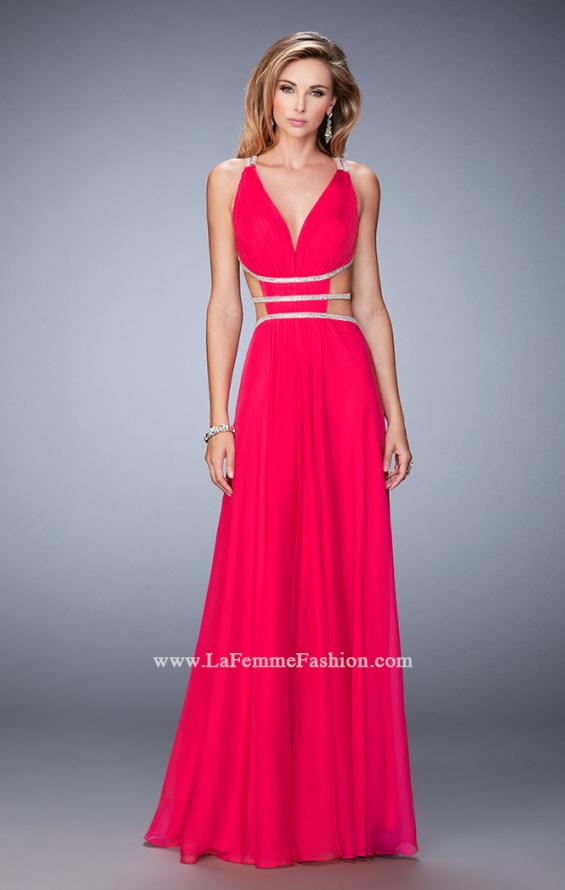 Picture of: Long Chiffon Gown with V Neckline and Crystal Straps in Pink, Style: 22762, Detail Picture 1