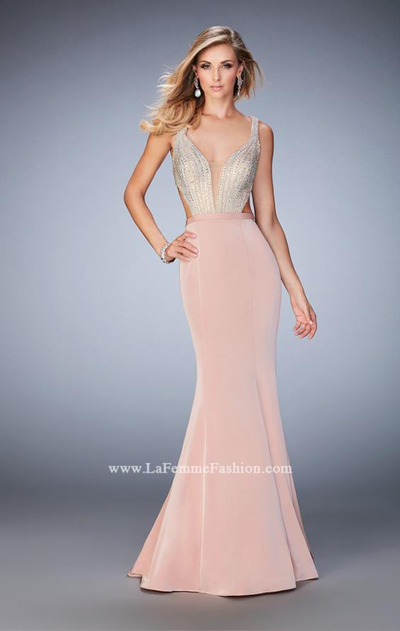 Picture of: Long Jersey Gown with Beading and Mermaid Skirt in Pink, Style: 22767, Main Picture