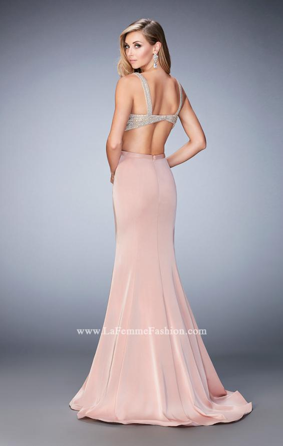 Picture of: Long Jersey Gown with Beading and Mermaid Skirt in Pink, Style: 22767, Back Picture