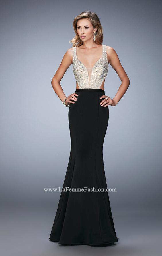 Picture of: Long Jersey Gown with Beading and Mermaid Skirt in Black, Style: 22767, Detail Picture 1