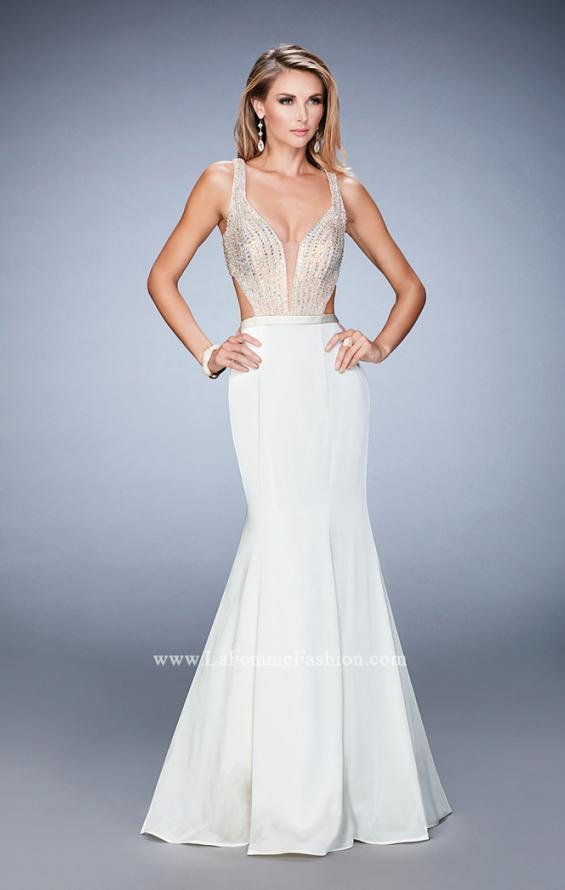 Picture of: Long Jersey Gown with Beading and Mermaid Skirt in White, Style: 22767, Detail Picture 2