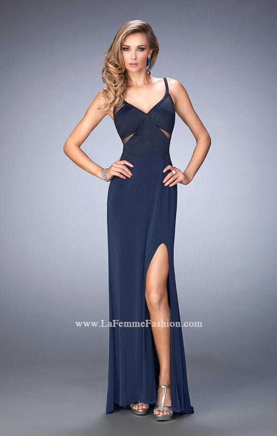 Picture of: Jersey Prom Dress with Satin Panels and Sheer Detail in Blue, Style: 22770, Main Picture