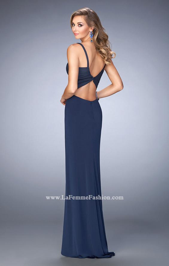 Picture of: Jersey Prom Dress with Satin Panels and Sheer Detail in Blue, Style: 22770, Back Picture