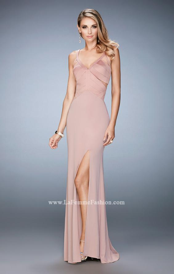 Picture of: Jersey Prom Dress with Satin Panels and Sheer Detail in Pink, Style: 22770, Detail Picture 1