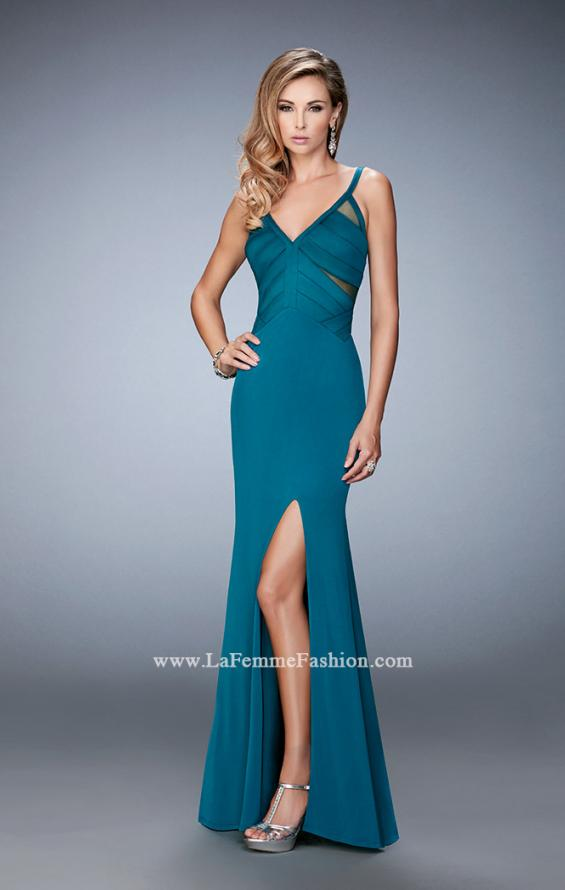 Picture of: Jersey Prom Dress with Satin Panels and Sheer Detail in Green, Style: 22770, Detail Picture 2