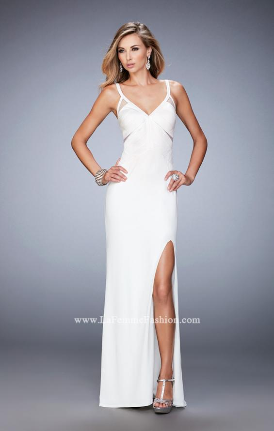 Picture of: Jersey Prom Dress with Satin Panels and Sheer Detail in White, Style: 22770, Detail Picture 3