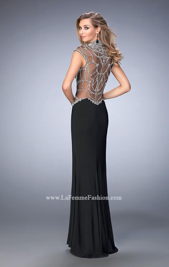 Picture of: Long Embellished Prom Dress with Side Leg Slit in Black, Style: 22776, Back Picture