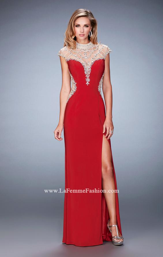 Picture of: Long Embellished Prom Dress with Side Leg Slit in Red, Style: 22776, Detail Picture 1