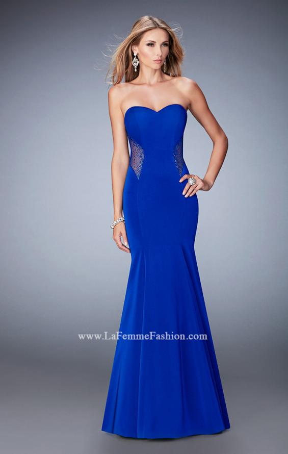 Picture of: Mermaid Jersey Prom Gown with Cut Outs and Stones in Blue, Style: 22806, Main Picture