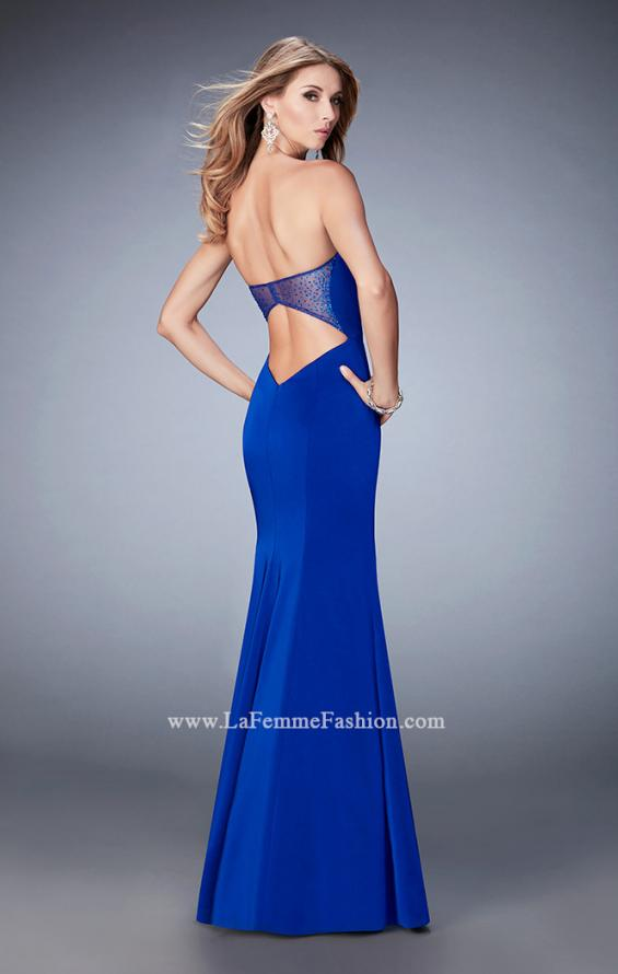 Picture of: Mermaid Jersey Prom Gown with Cut Outs and Stones in Blue, Style: 22806, Back Picture