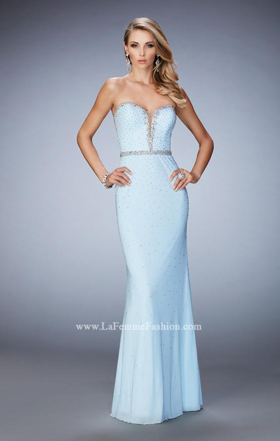 Picture of: Net Prom Dress with Crystal Encrusted Waistband, Style: 22812, Main Picture