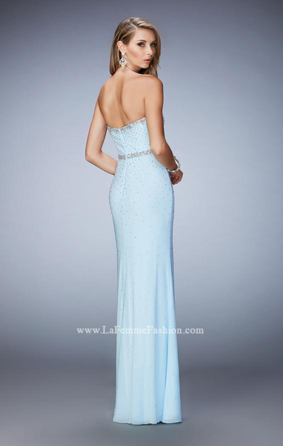 Picture of: Net Prom Dress with Crystal Encrusted Waistband, Style: 22812, Back Picture