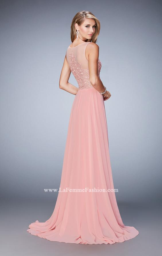 Picture of: Chiffon Gown with Beaded and Lace Bodice and Train in Pink, Style: 22824, Back Picture