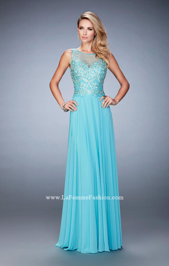 Picture of: Chiffon Gown with Beaded and Lace Bodice and Train in Blue, Style: 22824, Detail Picture 1