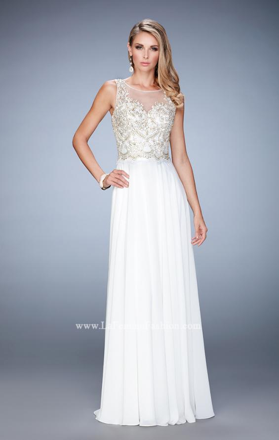 Picture of: Chiffon Gown with Beaded and Lace Bodice and Train in White, Style: 22824, Detail Picture 2