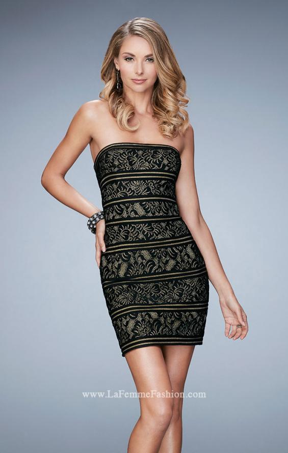 Picture of: Strapless Cocktail Dress with Lace in Black, Style: 22863, Main Picture