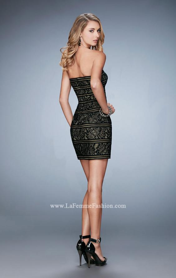 Picture of: Strapless Cocktail Dress with Lace in Black, Style: 22863, Back Picture