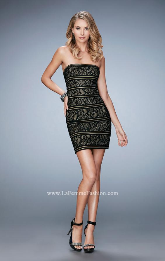 Picture of: Strapless Cocktail Dress with Lace in Black, Style: 22863, Detail Picture 1