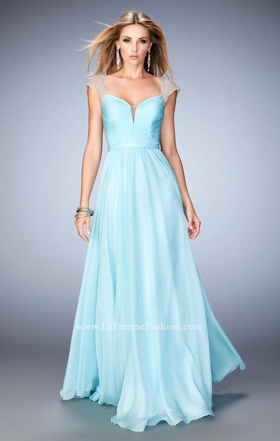 "Picture of: Cap Sleeve Chiffon Dress with ""V"" Neckline in Blue, Style: 22876, Main Picture"