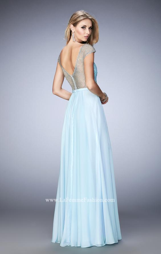 "Picture of: Cap Sleeve Chiffon Dress with ""V"" Neckline in Blue, Style: 22876, Back Picture"