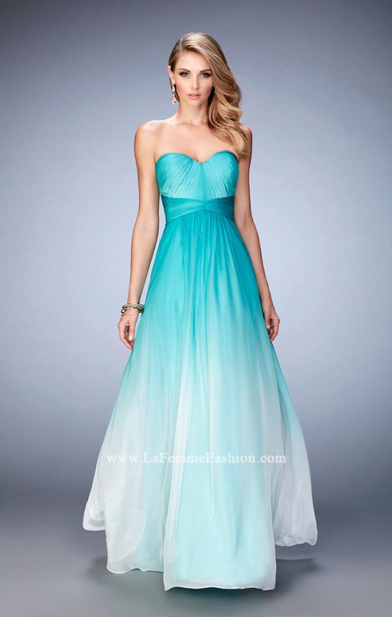 Picture of: Long Ombre Chiffon Gown with Gathered Bodice in Blue, Style: 22880, Main Picture