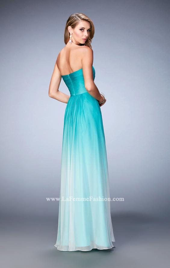 Picture of: Long Ombre Chiffon Gown with Gathered Bodice in Blue, Style: 22880, Back Picture