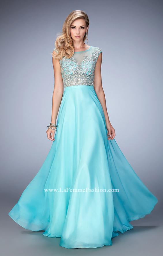 Picture of: Embellished Prom Dress with Sheer Bodice in Blue, Style: 22885, Main Picture