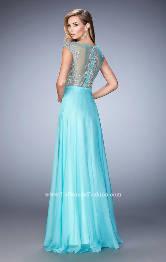 Picture of: Embellished Prom Dress with Sheer Bodice in Blue, Style: 22885, Back Picture