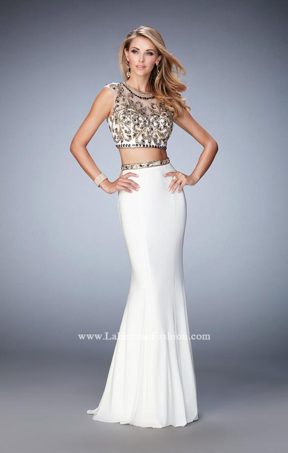 Picture of: Two Piece Prom Dress with Cap Sleeves and Beading in White, Style: 22891, Main Picture