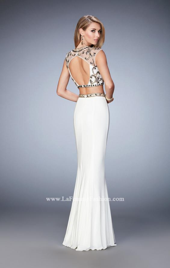 Picture of: Two Piece Prom Dress with Cap Sleeves and Beading in White, Style: 22891, Back Picture