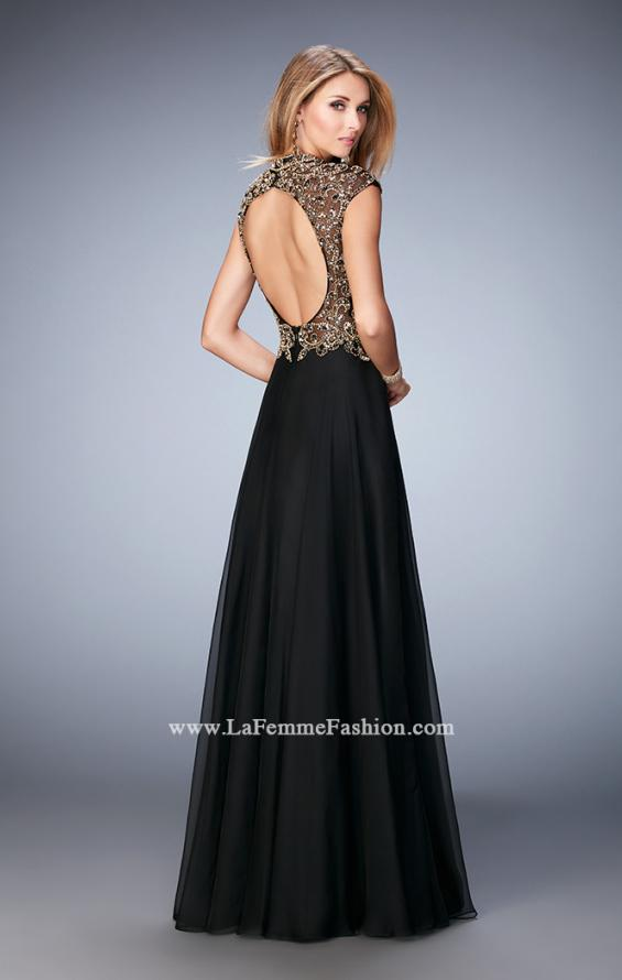 Picture of: Long Prom Dress with Embellished Waistband, Style: 22895, Back Picture