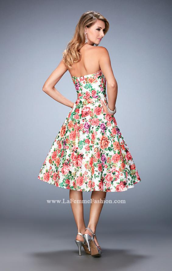 Picture of: Floral Tea Length Dress with Sweetheart Neckline, Style: 22903, Back Picture