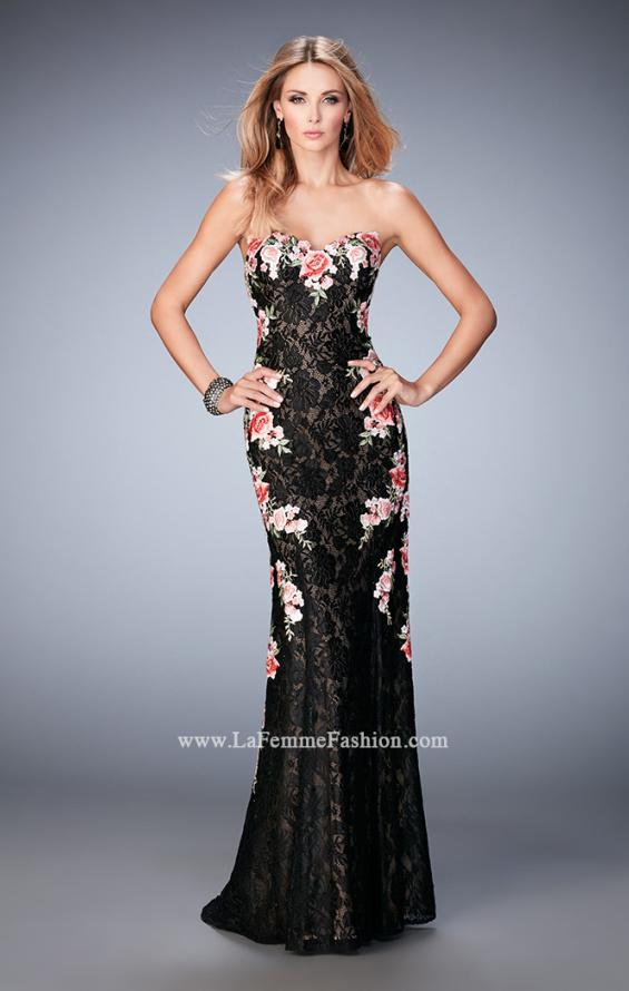 Picture of: Long Lace Prom Gown with Floral Applique and Train in Black, Style: 22914, Main Picture