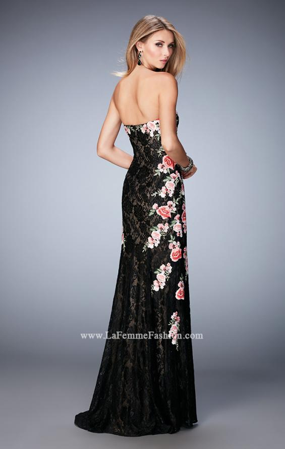 Picture of: Long Lace Prom Gown with Floral Applique and Train in Black, Style: 22914, Back Picture