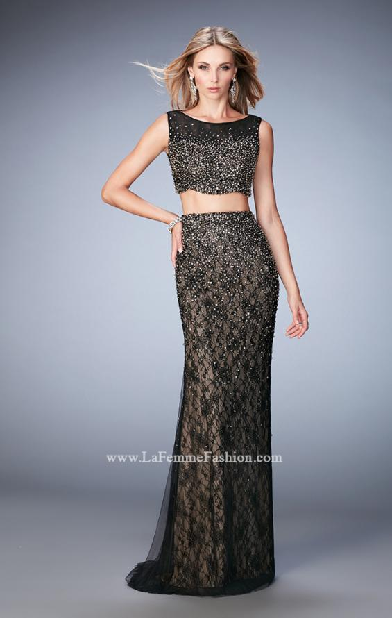 Picture of: Two Piece Tulle Gown with Scalloped Hem and Beading in Black, Style: 22927, Main Picture