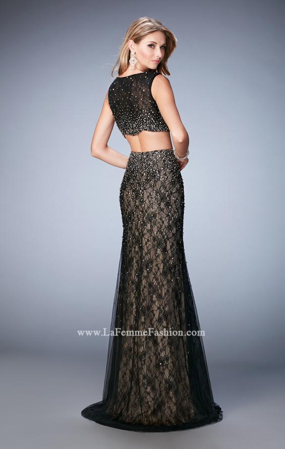 Picture of: Two Piece Tulle Gown with Scalloped Hem and Beading in Black, Style: 22927, Back Picture