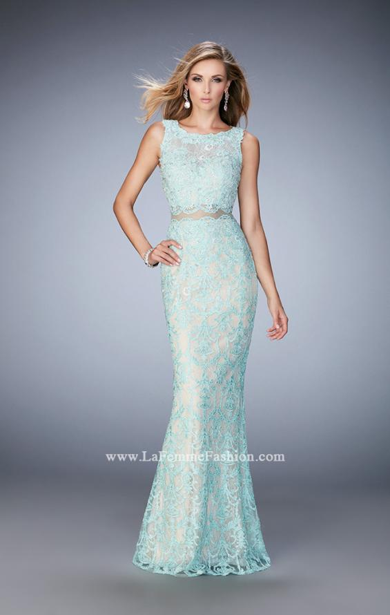 Picture of: Mock Neck Two Piece Dress with Sheer Detailing in Blue, Style: 22928, Main Picture