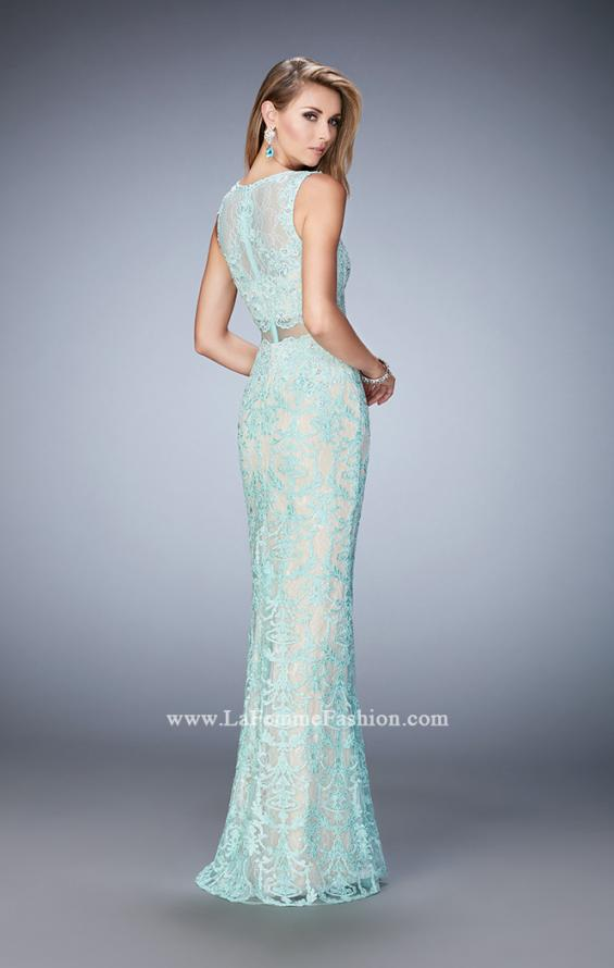 Picture of: Mock Neck Two Piece Dress with Sheer Detailing in Blue, Style: 22928, Back Picture