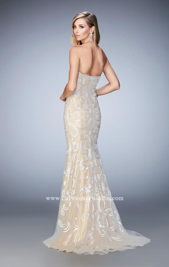 Picture of: Embroidered Prom Gown with Sweetheart Neck and Train in White, Style: 22931, Back Picture