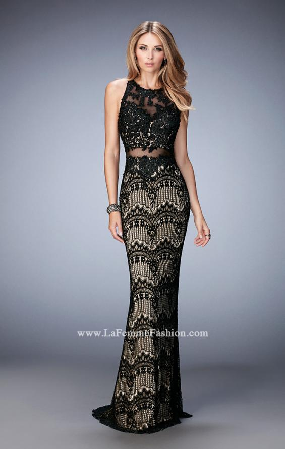 Picture of: Crystal Beaded Long Lace Prom Dress with Train, Style: 22933, Main Picture