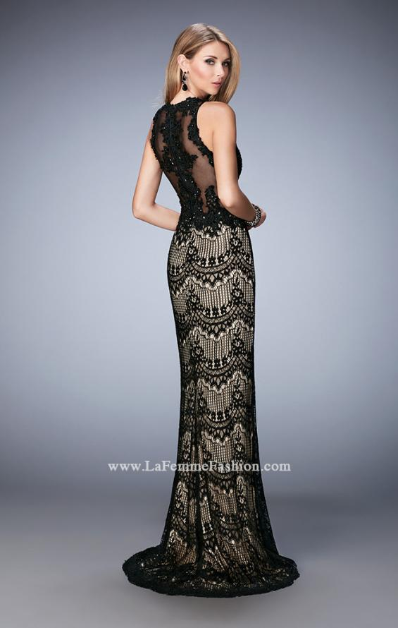 Picture of: Crystal Beaded Long Lace Prom Dress with Train, Style: 22933, Back Picture