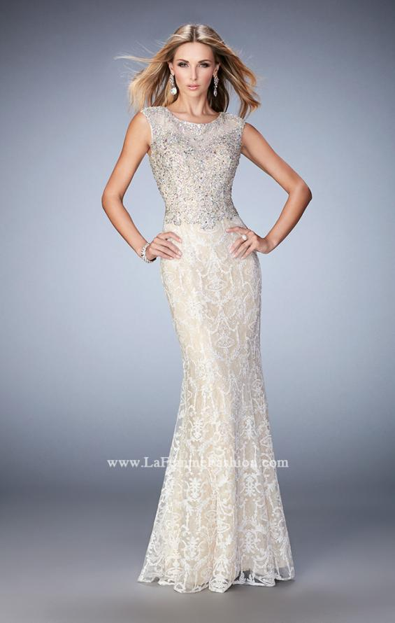 Picture of: Embellished Lace Prom Dress with Crystal Beading in White, Style: 22934, Main Picture